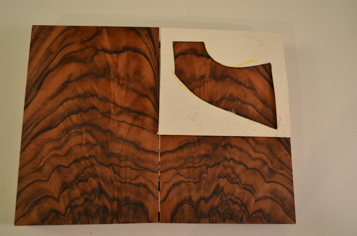 (1) Fabulous piece of French Walnut with a beautiful orange brown tone. Wonderful black streaking. A nice dose of feathered figure seals it.