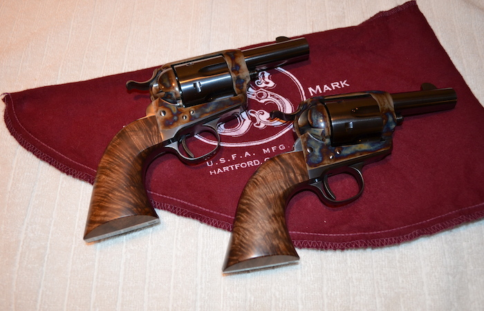 (2) This pair of Sheriff models from the USFA custom shop are stocked in exhibition Bastogne Walnut. This is a beautiful matched grip pair with grain, figure, color and layout being almost identical.