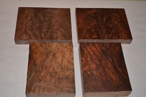 (3) The top block is Black Walnut, the bottom is Claro. Natural on the left, stained is on the right.