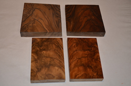 (4) The two French Walnut blocks on the left are natural tone with a clear finish. The two on the right have a red/brown stain and finish applied.
