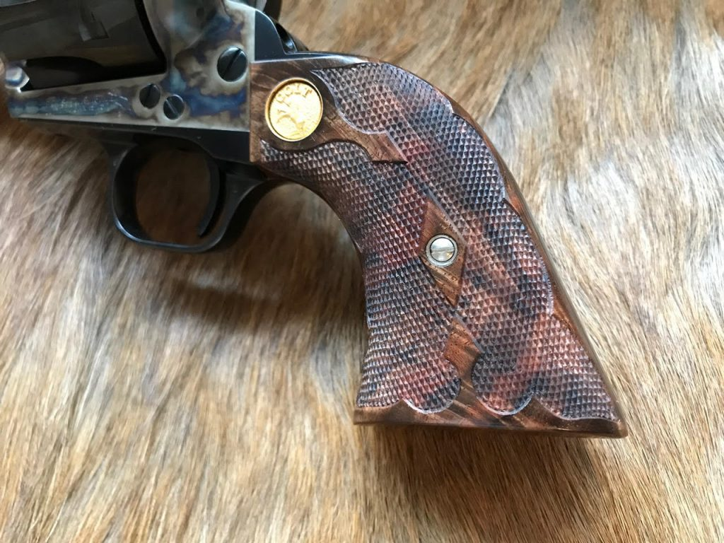 (5) Colt SAA with fancy scalloped pattern in 24 LPI. Raised border